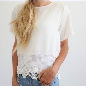 Creamy white silky lace accent short sleeve top